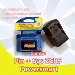 Bộ Pin+Sạc 2CR5 Powersmart 500mah
