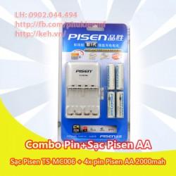 Bộ pin sạc Pisen TS-MC006 + 4 pin AA 2000mah