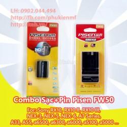 Combo sạc + pin Pisen FW50 for Sony Nex 3 NEX 5 Nex 6 NEX 7 A7 A6000 A5000 A7r A7 II
