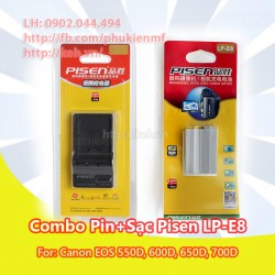 Combo sạc + pin Pisen LP-E8 for Canon EOS 550D, 600D, 650D, 700D