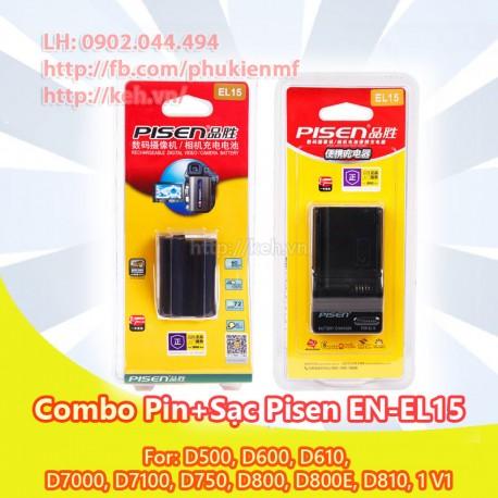 Combo sạc + pin Pisen EL-15 For Nikon D7000, D7100, D600, D800, D800E, V1
