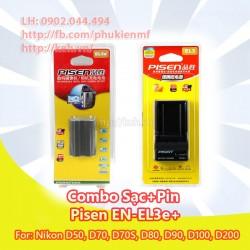 Combo sạc + pin Pisen EN-EL3+ for Nikon D50, D70, D70S, D80, D90, D100, D200, D300, D300S, D700