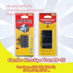 Combo sạc + pin Pisen LP-E6 for Canon EOS 5D II, 5D III, 5D IV, 60D, 70D, 7D.