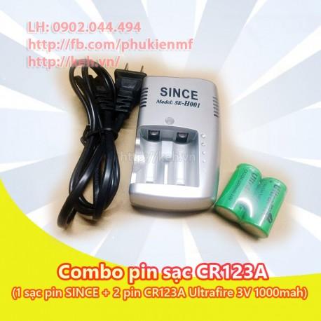 Combo Sạc + 2 Pin CR123A UltraFire 3V 1000mah rechargeable (CR123 16340)