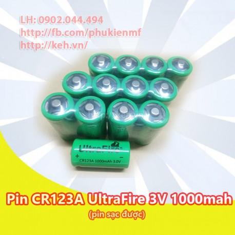 Pin CR123A UltraFire 3V 1000mah rechargeable/sạc được (CR123 16340)