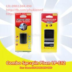 Combo pin+sạc Pisen LP-E12 7.2V 850mah for Canon EOS M M1 M10