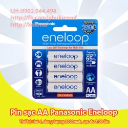 Pin sạc AA Panasonic Eneloop thế hệ 4 2000mah 2100 lần sạc (vỉ 4 viên - BK-3MCCE)